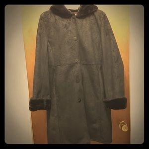 Anne Klein Faux Fur Trim Winter Coat